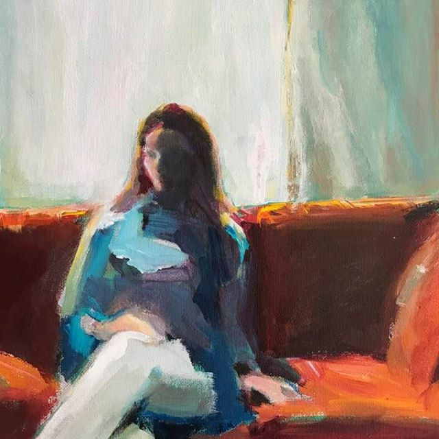 Cathy Shepherd, Bright Light, Red Couch, acrylic