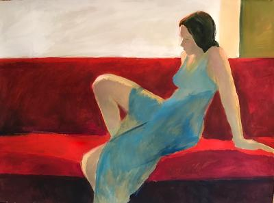 Cathy Shepherd, Red Couch Pose, flashe acrylic on paper